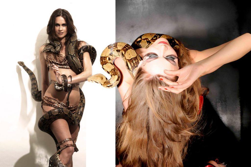 charmeuse de serpent artiste danseuse orientale avec serpents